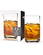 Viski Crystal Cocktail Mixing Glass, Thick Base for Stability, Bartender Tool and Accessory, 500ml, Lead Free Crystal