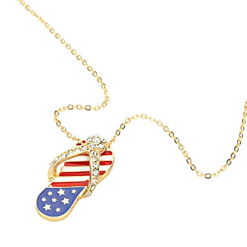 Rosemarie Collections Women's Patriotic USA American Flag Flip Flop Sandal Shoe Pendant Necklace (Gold Tone) ()