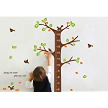 brown squirrel tree with birds growth chart nursery wall sticker decor kid's bedroom height chart removable jungle tree wall decor sticker art decal