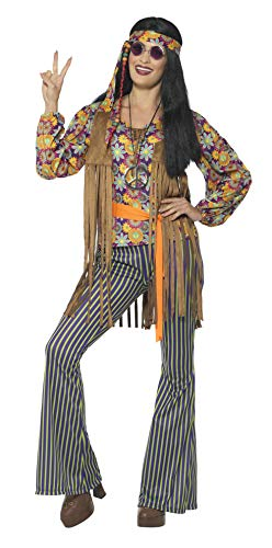 Smiffys Women's 60s Singer Costume, Female, with Top, Waistcoat, Multi, Large ()