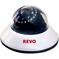 Revo RCDS30-2 Indoor CCTV Dome Security Camera - 600TVL 30IR 80 Day Night Vision Quick Connect 3.6mm Fixed Lens (White) - Surveillance Equipments