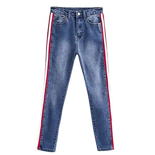 Cheville conqueror Pantalon Jeans Haute la Taille Stretch latrales Bleu Femmes Rayures Pantalons Slim xqYqwrCZX