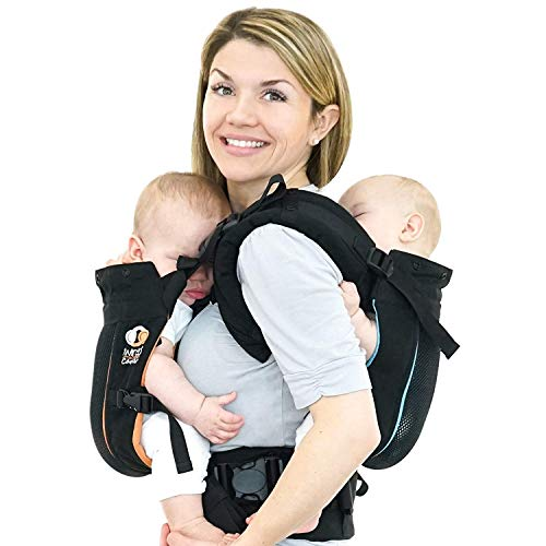 TwinGo Carrier - Air Model - Classic Black - Great for All Seasons - Breathable Mesh - Fully Adjustable Tandem or 2 Single Baby Carrier for Men, Woman, Twins and Babies 10-45 lbs ()