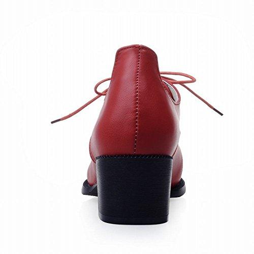 Latasa Donna Casual A Punta Tacco Medio Lace-up Oxford Scarpe Chunky Rosso