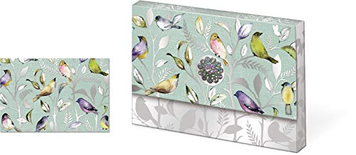 Punch Studio Brooch Portfolio Note Cards with Pattern Birds (43822)