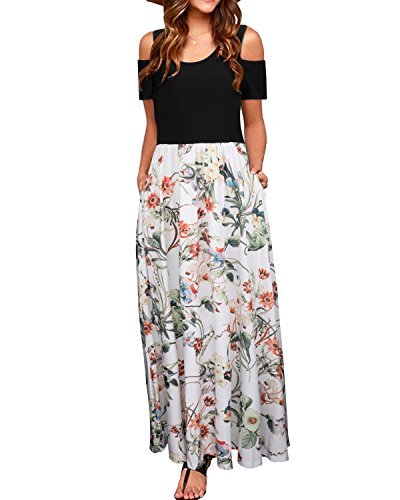 STYLEWORD Women's Summer Cold Shoulder Floral Print Elegant Maxi Long Dress with Pocket(Floral02,XL) ()