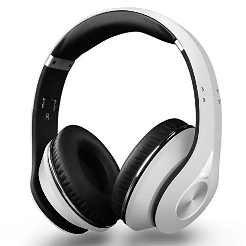 Bluetooth Headphones - August EP640 - Wireless Over Ear Headphones with aptX / NFC / 3.5mm Audio In / Headset Microphone - White