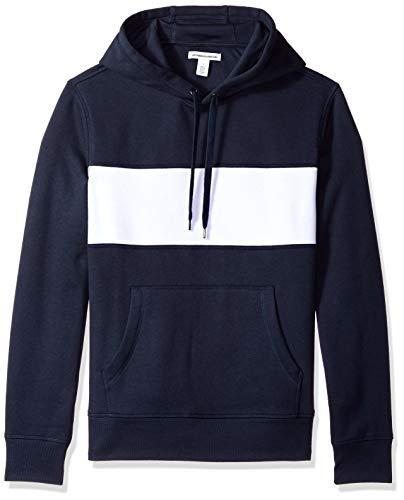 - Amazon Essentials Men's Hooded Fleece Chest Stripe Sweatshirt, Navy/White, X-Large