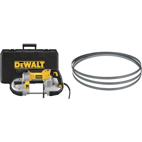 DEWALT DWM120K 10 Amp 5-Inch Deep Cut Portable Band Saw Kit with 24TPI Portable Band Saw Blade - 44-7/8-Inch, .020-Inch, Matrix Ll (3-Pack) by DEWALT