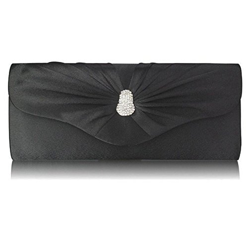 Black Women Prom Evening Ladies Diamante Bridal Xardi Handbag Party London Designer UK Clutch Satin TqwUxROF