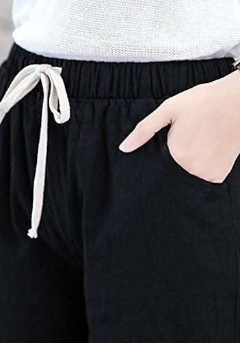 [ハベリィ] クロップド ロング パンツ シンプル チノパン ウエストゴム レディース