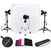CRAPHY Photography Studio Lightbox Tent Cube Backdrop Soft Box Kit (17 30 Foldable Shooting Tents + 45w Continuous Light + 17 Light Tripod + 43 Camera Tripod + 4 Backdrops White Black Red Blue)