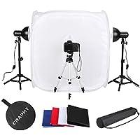 CRAPHY Photography Studio Lightbox Tent Cube Backdrop Soft Box Kit (17 30 Foldable Shooting Tents + 45w Continuous Light + 17 Light Tripod + 43 Camera Tripod + 4 Backdrops White Black Red Blue)