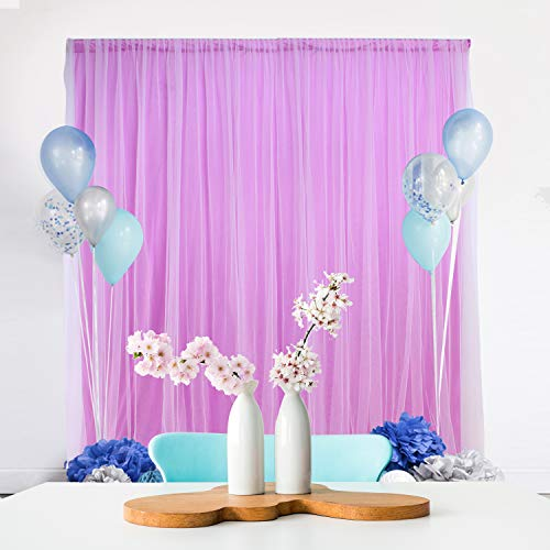 Tulle-Backdrop-Curtains-Purple Chiffon Background for Wedding Reception Parties Baby Shower Photographer Picture Christmas Decoration 5 ft X 7 -