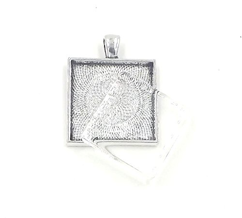 (12 Deannassupplyshop 1 inch square Pendant Trays with flat glass - Antique Silver - 1 inch - Pendant Blanks Cameo Bezel Settings Photo Jewelry - Custom Jewelry Making - 1 inch)