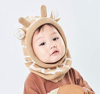 Kids Cartoon Knitted Earmuff Hats Thicken Fleece Lined Earflap Hood Scarf with Ear Baby Toddler Ear Flap Beanie Cute Animal Girl Boy Coif Cap Snow Neck Warmer Skull Cap Balaclava Ski Cap for Age 1-3