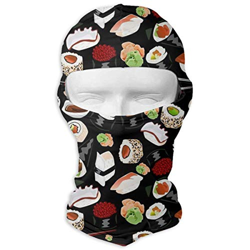 O-X_X-O Japanese Sushi Black Balaclava Windproof & Dust Protection Motorcycle Helmet Liner Soft and Breathable Face Mask Warmer Balaclava Hood - Prefect Gifts ()