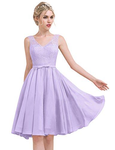 mit V Ausschnitt Lace Chiffon Lavendel Linie Princess Knielang Brautjungfernkleid Erosebridal Schleife UfO8Bwa