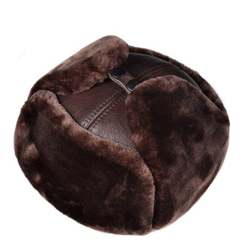 Ear Lei blackcowhide Browncowhide Leather Wind l Cowhide Hat Pilot Russian Warm Thick Winter Cap Protection Feng Unisex awXxg6vqx