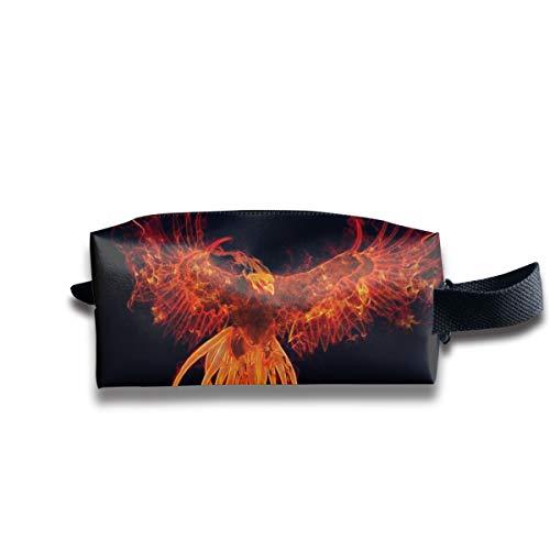 V5DGFJH.B Clash Durable Zipper Wallet Makeup Handbag with Wrist Band Fire Phoenix Toiletry -