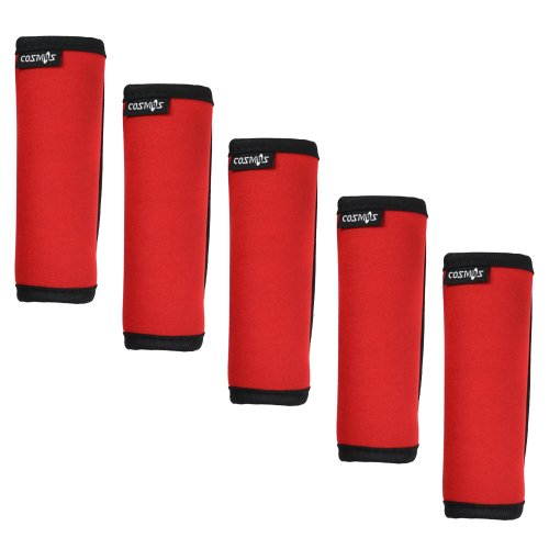 - Cosmos ® 5 Pieces Red Color Comfort Neoprene Handle Wraps/Grip/Identifier for Travel Bag Luggage Suitcase