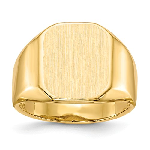 Ring Tapered Personalized (Roy Rose Jewelry 14K Yellow Gold Mens Tapered Square Signet Ring FREE Custom Personalized Engraving with 3 Letter Monogram)