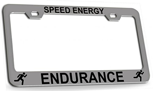 SPEED-ENERGY-ENDURANCE-Runner-Steel-Metal-License-Plate-Frame-Chrome-Bl