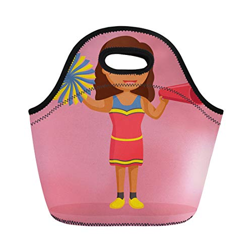 Semtomn Lunch Bags Attractive Black American African Cheer Leader Megaphone Athletic Beautiful Neoprene Lunch Bag Lunchbox Tote Bag Portable Picnic Bag Cooler Bag -