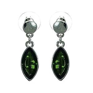 Melica Pendientes de plata de color verde oliva mensaje