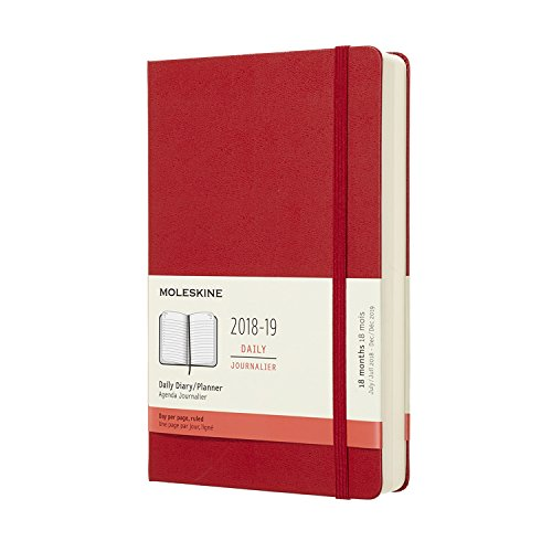 Moleskine 2018-2019 18M Daily, Large, Daily, Cover Hard Red Scarlet, Hard Cover (5 x 8.25)