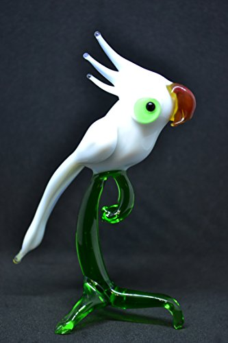Spun Glass Ornament - White Glass parrot figurines dollhouse design unique figurines spun glass animal parrot paperweight miniature glass statue menagerie bird toys