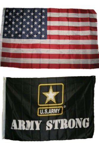 Moon Knives Wholesale Combo LOT 3 X 5 USA AMERICAN & US Army Strong Emblem FLAG Banner 3X5 - Party Decorations Supplies For Parades - Prime Outside, Garden, Men Cave Decor Flag ()