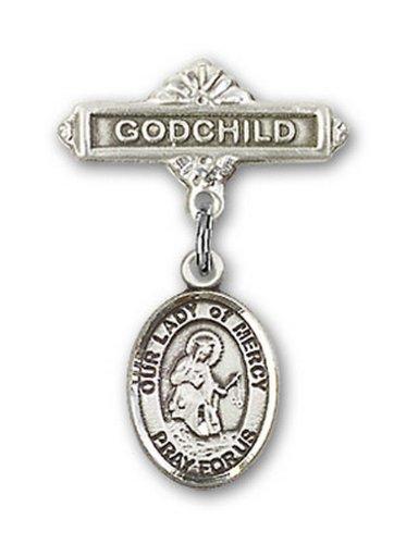 Icecarats Créatrice De Bijoux En Argent Sterling O / L De Charme De La Miséricorde Broches Badge Filleul 1 X 5/8