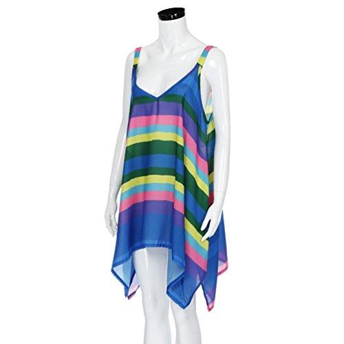 d71968e256189d ... Tops damen, FEITONG Frauen Regenbogen Streifen Pullover Ärmellose  Chiffon unregelmäßige Weste Tank Tops Shirt Bluse ...