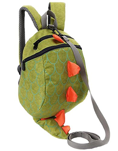 Kids Toddler Child School bag Boy Girl Cartoon Dinosaur Safety Harness Backpack (Green)