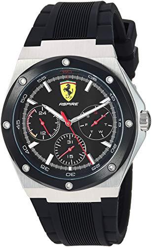 Ferrari Men's 'Aspire' Quartz Stainless Steel and 100 Silicone Watch, Color:Black (Model: 0830537)