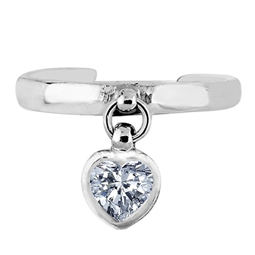 (Sterling Silver Dangling Heart Shape CZ Cuff Style Adjustable Toe Ring)