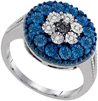Dazzlingrock Collection 013 Carat ctw Round Black Diamond Cluster Ring Sterling Silver 18 CT
