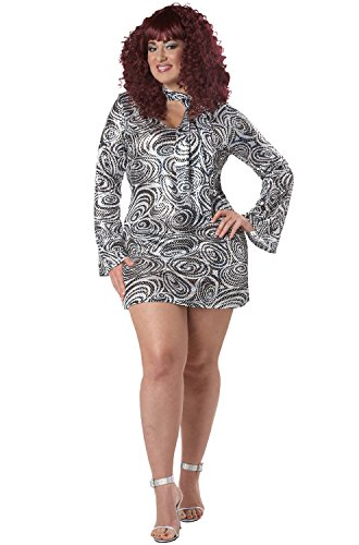 California Costumes Women's Plus-Size Disco Diva Plus, Silver, 3X