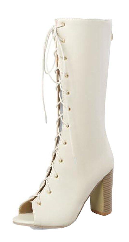 Easemax Damen Modern Peep Toe Lace Up Kurzschaft High Heels Sandalen Stiefel