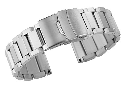 24mm High-Grade Men's Silver Watch Bands Satin Brushed Stainless Steel Watch Straps Safe Folded Buckle