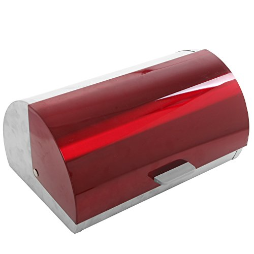 Designer Kitchen High Gloss Red Lidded Stainless Steel Metal Roll Top Bread Box/Storage Bin - MyGift