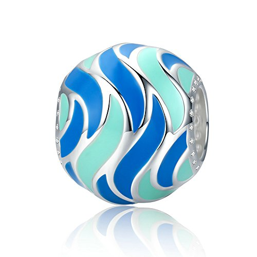 The Kiss Beautiful Youth Romantic Fireworks Graceful Rhythm Gorgeous Square Geometric Colorful Enamel CZ 925 Sterling Silver Bead For European Charm Bracelet (Tropical Fish Pattern Enamel)