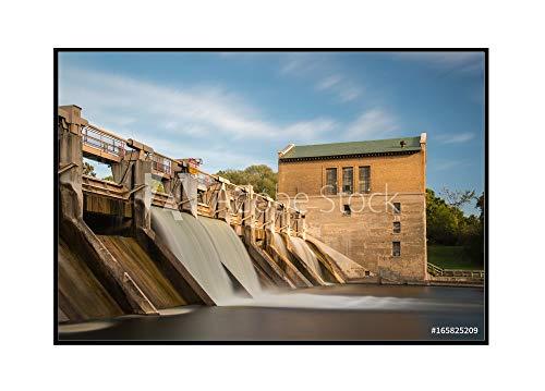 Barton Arbor - Barton Dam, Ann Arbor, Michigan Photography A-90801 (36x24 Framed Gallery Wrapped Stretched Canvas)