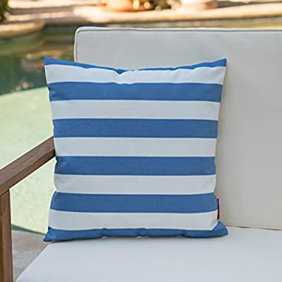 Christopher Knight Home Coronado Outdoor Blue and White Stripe Water Resistant Square Throw Pillow - Add some color to your patio set with this water resistant outdoor pillow Made from top quality fabric that won't absorb every drop of water and dirt, this pillow was designed with both the outdoors and your patio in mind Manufactured in China - patio, outdoor-throw-pillows, outdoor-decor - 41FPoc2E4uL. SS400  -