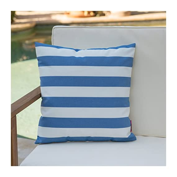 Christopher Knight Home Coronado Outdoor Water Resistant Square Throw Pillow, Blue / White - Add some color to your patio set with this water resistant outdoor pillow Made from top quality fabric that won't absorb every drop of water and dirt, this pillow was designed with both the outdoors and your patio in mind Manufactured in China - patio, outdoor-throw-pillows, outdoor-decor - 41FPoc2E4uL. SS570  -