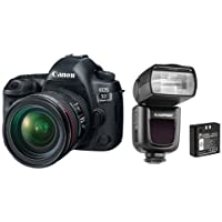 Canon EOS 5D Mark IV with EF 24-70mm f/4L IS USM Lens - bundle With Flashpoint Zoom Li-on R2 TTL On-Camera Flash Speedlight for Canon