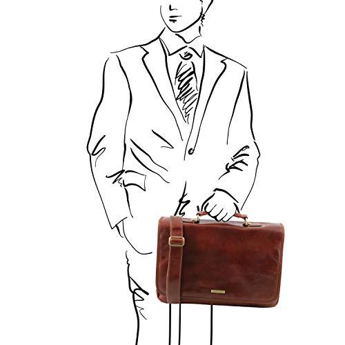 Tuscany piel Mantova Miel en compartimientos SMART Leather y TL multiples Negro solapa TL141450 Portafolio rOrw8