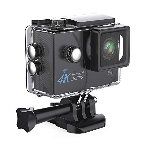 Action Camera,Zhicity 16MP 4K Wi-Fi 30FPS 64 G TF card Ultra HD Waterproof Sports Cam 170°Wide-angle Lens Sport Camera DV Camcorder With 7 Accessory (Black)