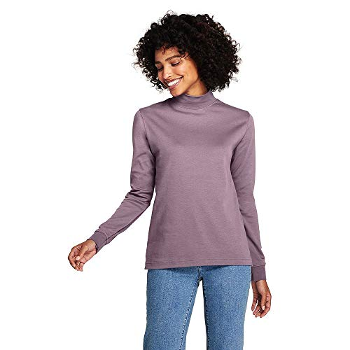 Interlock Turtleneck Mock Ladies (Lands' End Women's Petite Relaxed Cotton Mock Turtleneck, S, French Violet)